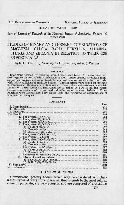 R.F. Geller - Studies of binary and ternary combinations of magnesia, calcia, baria, beryllia, alumina, thoria and zirconia in relation to their use as porcelains